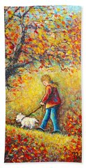 Beach Towel featuring the painting Autumn Walk  by Natalie Holland