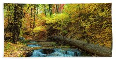 Beach Sheet featuring the photograph Autumn Waterfall by Anthony Citro