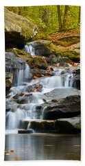 Autumn Waterfall Beach Towel by Shelby  Young
