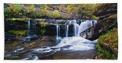 Beach Towel featuring the photograph Autumn Waterfall by Steve Stuller