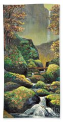Beach Towel featuring the painting Autumn Waterfalls by Lou Ann Bagnall