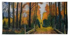 Autumn Way Beach Towel by Ron Richard Baviello