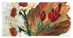 Autumn Wild Flowers Bouquet Beach Sheet