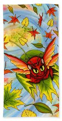 Autumn Winds Fairy Cat Beach Towel