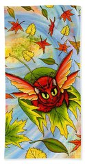 Beach Towel featuring the painting Autumn Winds Fairy Cat by Carrie Hawks