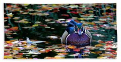 Autumn Wood Duck Beach Towel