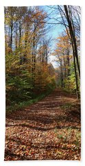 Autumn Woods Road Beach Towel
