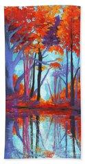 Autumnal Landscape, Impressionistic Art Beach Sheet