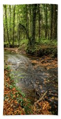 Autumnal Stream Beach Towel