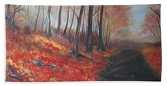 Beach Towel featuring the painting Autumns Pathway by Leslie Allen