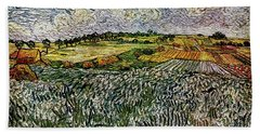 Beach Sheet featuring the painting Landscape Auvers28 by Pemaro