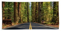 Beach Towel featuring the photograph Avenue Of The Giants by James Eddy
