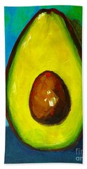Avocado, Modern Art, Kitchen Decor, Blue Green Background Beach Towel