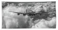 Beach Towel featuring the photograph Avro Lancaster Above Clouds Bw Version by Gary Eason