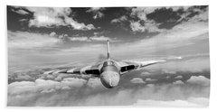 Beach Towel featuring the digital art Avro Vulcan Head On Above Clouds by Gary Eason