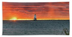 Awesome Sunset With Lighthouse  Beach Towel