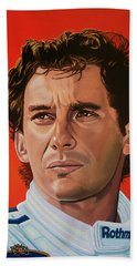 Ayrton Senna Portrait Painting Beach Towel by Paul Meijering