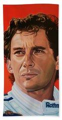 Ayrton Senna Portrait Painting Beach Sheet by Paul Meijering