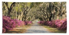 azalea lined road in Spring Beach Towel