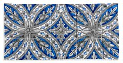 Azulejo - Blue Floral Decoration  Beach Sheet