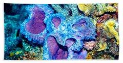 Beach Towel featuring the photograph Azure Vase Sponges by Perla Copernik