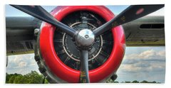 Beach Sheet featuring the photograph B 25 Red Trimmed Engine by Gary Slawsky