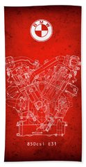B M W  850csi  E31  V12 Engine Redprint Beach Towel