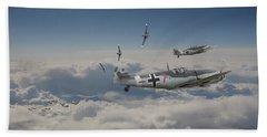Beach Towel featuring the digital art B17 - Luftwaffe Battleground by Pat Speirs