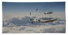 Beach Sheet featuring the digital art B17 - Luftwaffe Battleground by Pat Speirs