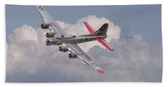 Beach Sheet featuring the photograph B17 - The Last Lap by Pat Speirs
