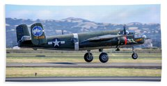 B25 Mitchell Bomber Take Off At Livermore Beach Towel