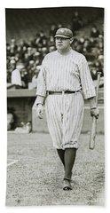 Babe Ruth Going To Bat Beach Towel