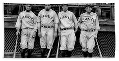 Babe Ruth Lou Gehrig And Joe Dimaggio Beach Towel