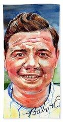 Babe Ruth Portrait Beach Towel