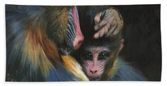 Baboon Mother And Baby Beach Towel by David Stribbling