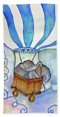 Baby Blue Elephants Beach Towel