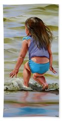 Baby Catching A Wave Beach Towel