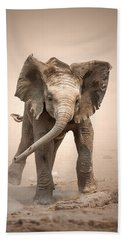 Baby Elephant Mock Charging Beach Towel