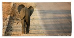 Baby Elephant Rear View Beach Towel
