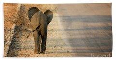 Baby Elephant Rear View Beach Sheet