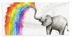 Baby Elephant Spraying Rainbow Beach Towel
