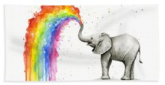 Baby Elephant Spraying Rainbow Beach Towel