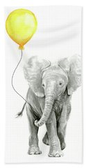 Baby Elephant Watercolor With Yellow Balloon Beach Towel