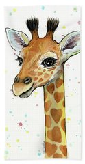 Baby Giraffe Watercolor With Heart Shaped Spots Beach Towel by Olga Shvartsur