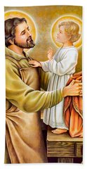 Baby Jesus Talking To Joseph Beach Towel
