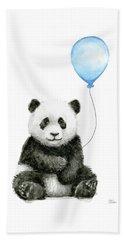 Baby Panda With Blue Balloon Watercolor Beach Towel