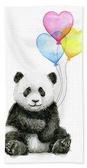 Baby Panda With Heart-shaped Balloons Beach Towel