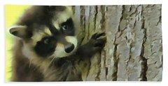 Baby Raccoon In A Tree Beach Sheet by Dan Sproul