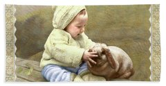 Baby Touches Bunny's Nose Beach Towel
