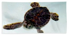 Beach Towel featuring the photograph Baby Turtle by Francesca Mackenney